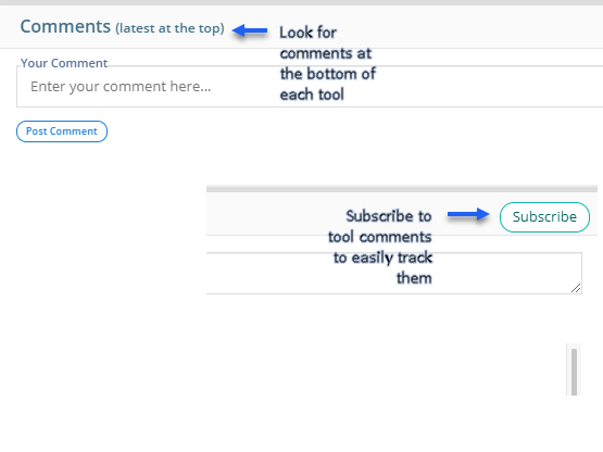 Collaborate using the Comments section at the bottom of each chart and project subsection
